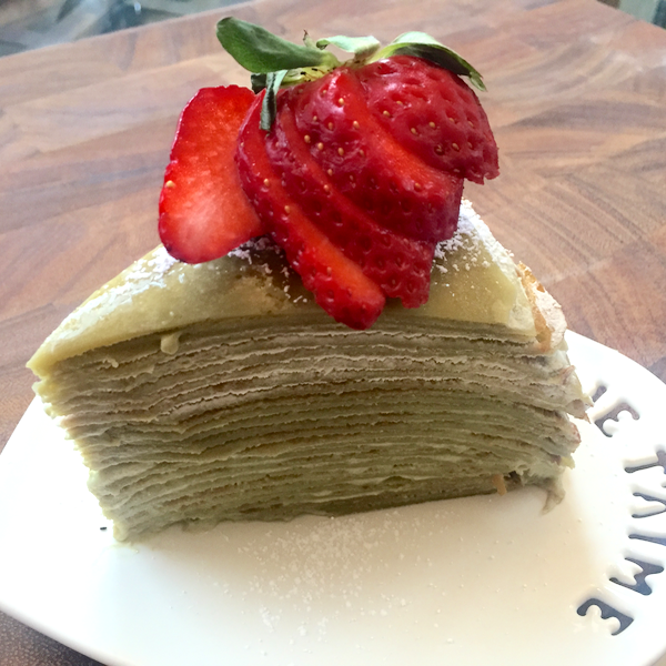 Green Tea Mille Cr�pe Cake with Green Tea Custard Cream