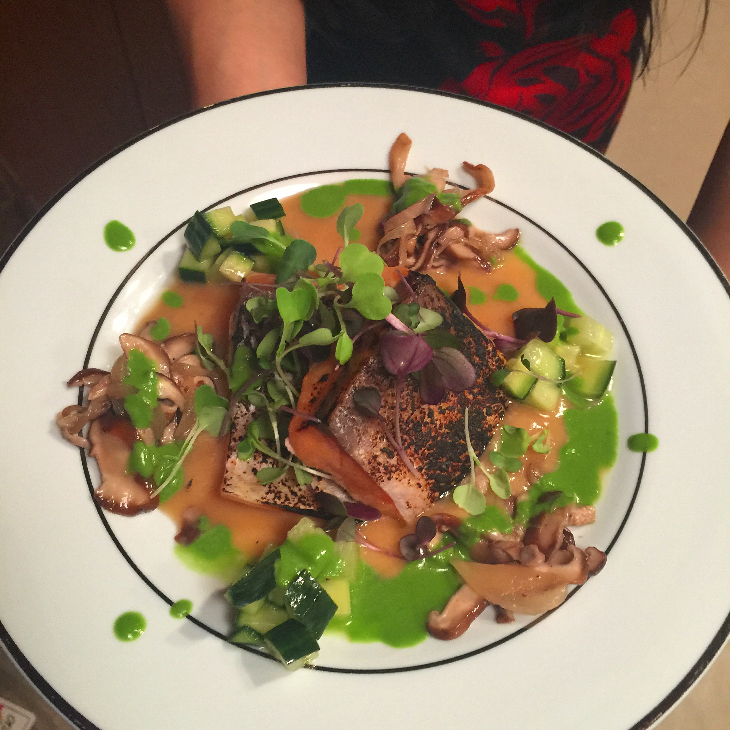Sous Vide Miso Mirin Salmon, Shiitake, and Pickled Cucumber, with Cilantro Juice