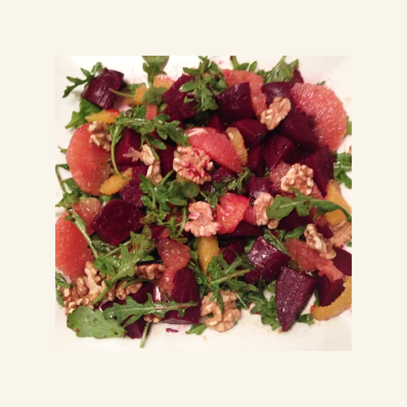 Roasted Beet, Citrus, and Walnut with Baby Arugula